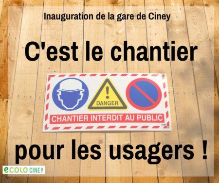 Gare de Ciney: Quoi, une inauguration? Mais, mais, mais… C'est pas fini!