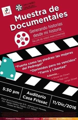 Cartel presentación de documentales en Casa Frissac.