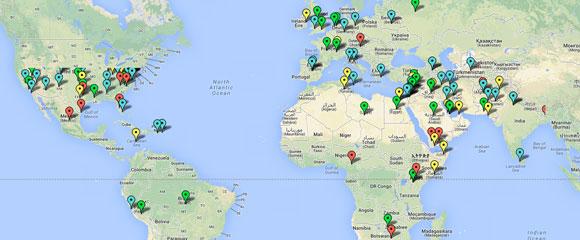 Mapa de las protestas del mundo
