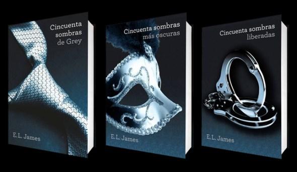 Portadas de los 3 libros de 50 sombras de Grey