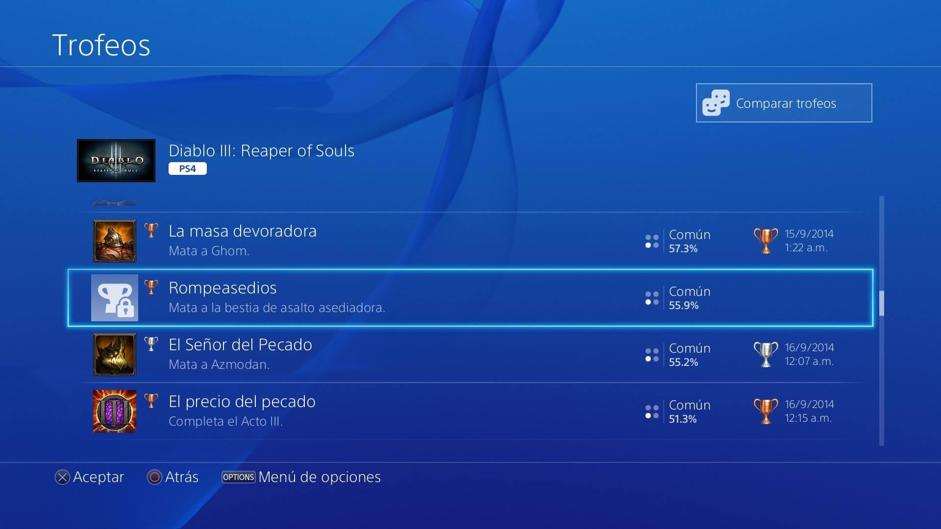 Trofeo trabado en PS4
