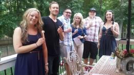 hanna's loyal oregon friends enjoying a cake pop / L to R: alicia, adam, andy, ivana, blake, lexy
