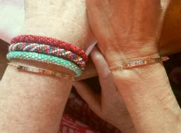 both moms got very cool bracelets, with location coordinates of the venue, date, and inscriptions from bride/groom