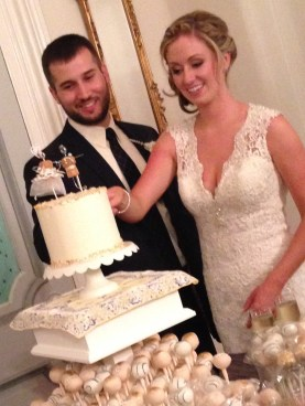 cutting the cake; cake pops for the guests