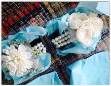 (left) mom of bride corsage; (right) mom of groom corsage / wrist corsages from etsy - good decision to order these!
