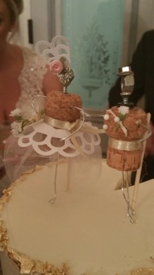 cake toppers we made from champagne corks and bits & pieces of this & that