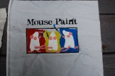 Age 2: Mouse Paint (a gift from Laura), freezer paper stencil