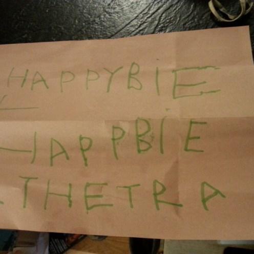 Hand-written card from James
