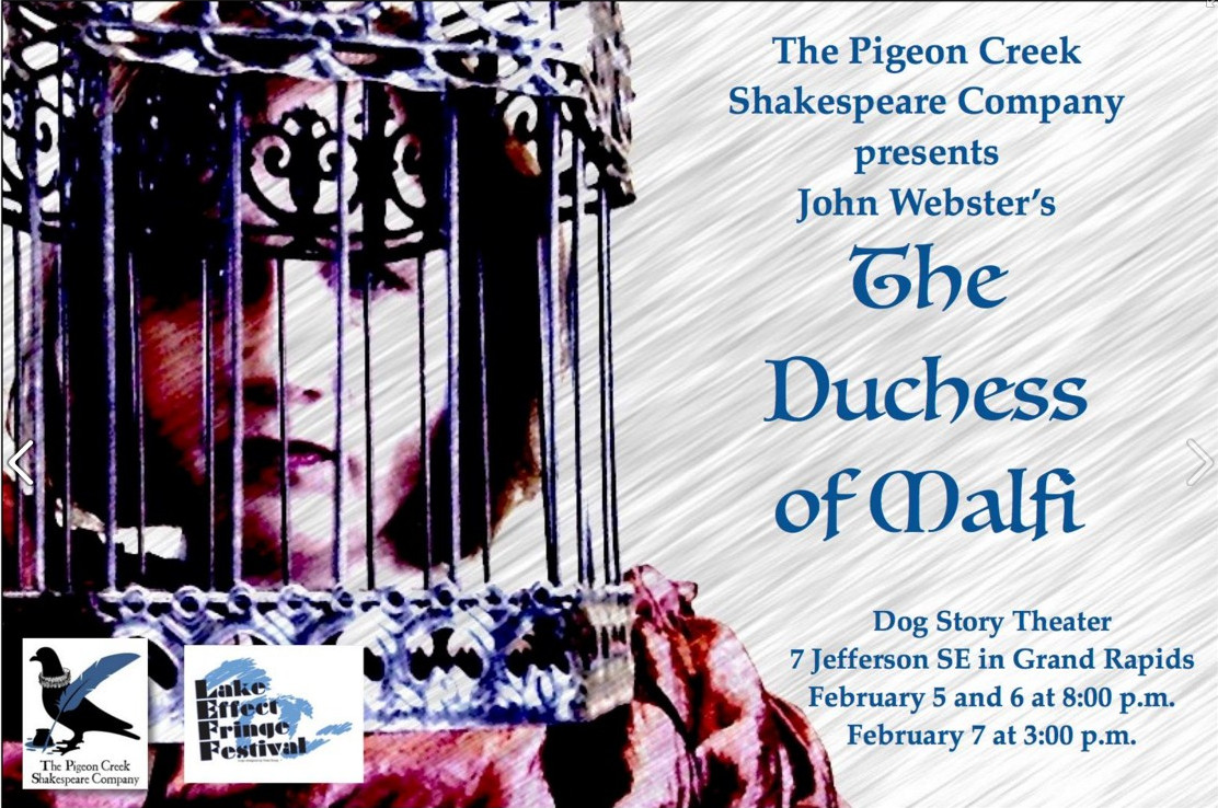 "Show poster. We wanted to work with the image of ""a lark in a cage,"" as there are caged-bird images all through the text. Weirdly, the shapes in the cage and the shadows on Katherine's face wound up looking a lot like the iron gate on the cover of our edition of the play--this was not planned."