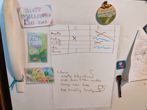 """refrigerator with everyone's """"nope"""" cards and our daily checklist on it."""