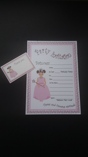 Afrocentric princess birthday invitation and thank you card for light skinned/mixed race girls - pack of 10