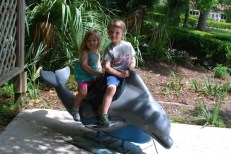 Riding a dolphin.