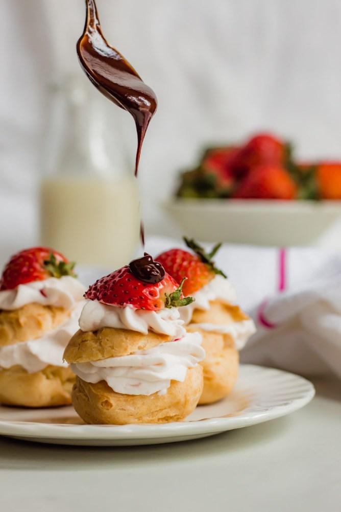 Profiteroles with Strawberry Cream