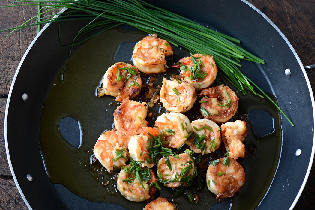 shrimps with oil and garlic