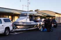 Loading the national park boat for our trip to the island