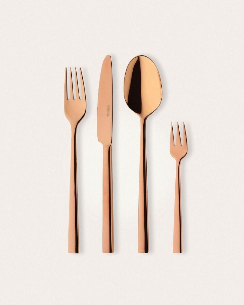 Bakır Parlak 48 Parça Çatal Kaşık Bıçak