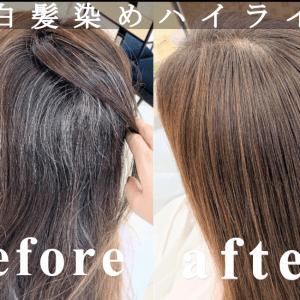 女性の白髪染めヘアカラー前と後の比較をしている1枚