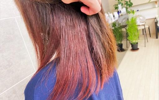 肩甲骨にかかる長さの表面が茶色で中が朱色のヘアスタイル