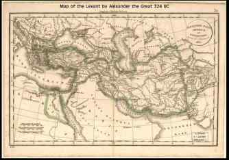 324 BC map by Alexander the Great of Levant