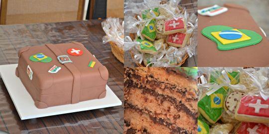 Bolo em pasta americana e biscoitos decorados tema Brasil e Suíça