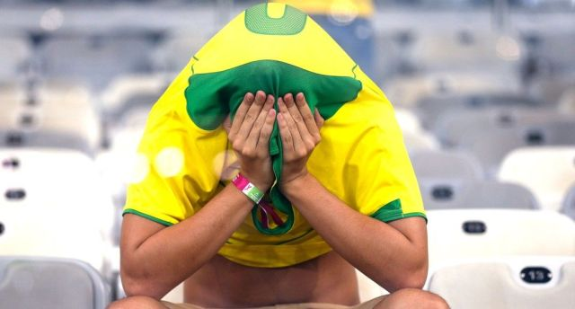 Sad Brazilian crying after loosing 7x1 to Argentina at the World Cup 2014.