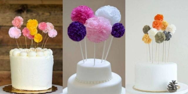 How to make beautiful and easy to make DIY pom pom cake toppers