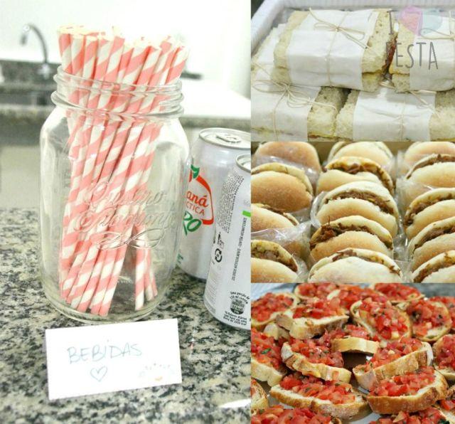 Comes e bebes de chá de bebê: fingerfoods e sanduichinhos, bebidas em lata e canudos de papel listrados. Créditos: I Love Festa.