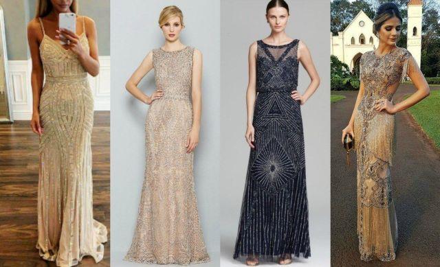 Vestidos longos para formatura e festas: todo bordado com canutilhos e cristais.