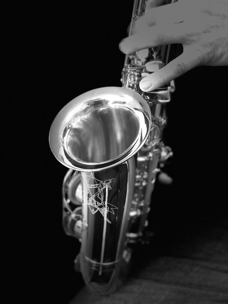 Close-up view of saxophone