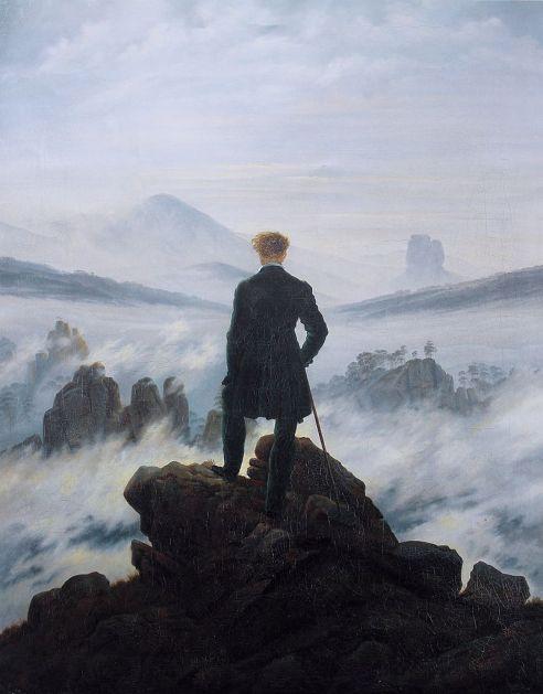 Caspar David Friedrich. Caminante ante un mar de niebla. 1818.Hamburgo, Kunsthalle