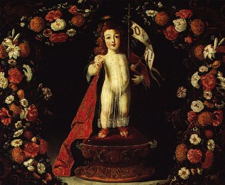Josefa de Óbidos. Niño Jesús y guirnalda de flores.