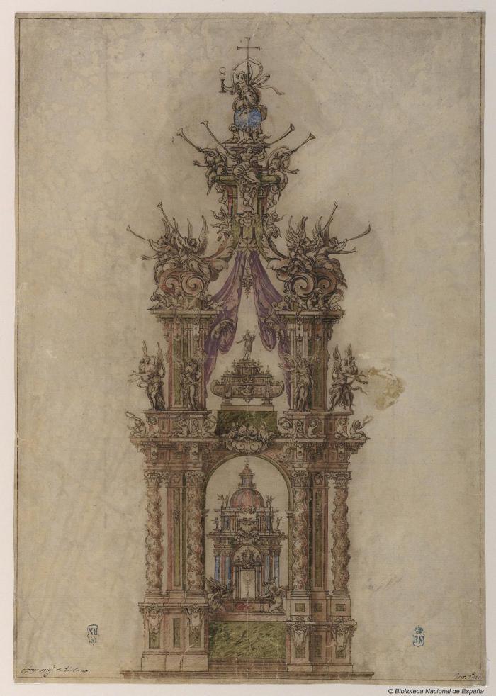 Sebastián de Herrera Barnuevo. Altar-baldaquino de San Isidro para la capilla del santo en San Andrés. Ca. 1659. Biblioteca Nacional, Madrid