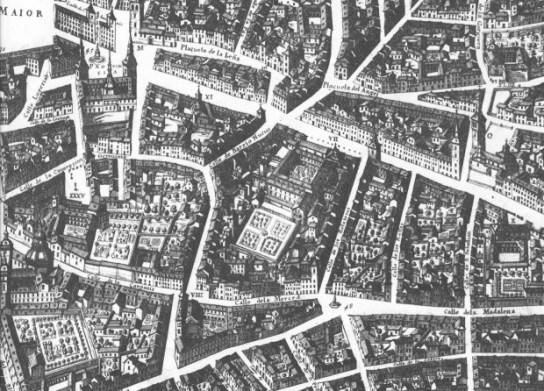 Convento de la Trinidad Calzada en Madrid en el grabado de Texeira, ca. 1656.