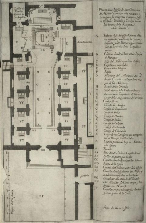 Juan de Noort (grab.) planta de la iglesia de los Jerónimos con la colocación del catafalco y protocolo de los miembros de la corte.