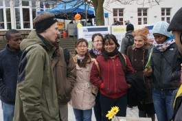 Discussing with some of the main organisers of the action day: the environment initiative of TU Dresden.