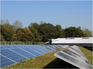 Solar panels on buildings at the Waste Water Plant, Dresden – Kaditz