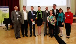 Some of the speakers and supporters gather before the ceremony: Rattan Lal (Ohio State University), Harry Lehmann and Ralph Wollmann (German Environment Agency), Anna Görner and Roman Kiesshauer (CIPSEM), Gabriela Königsberg (German Ministry of the Environment, Nature Protection, Building and Nuclear Safety), André Lindner and Angela Francke (CIPSEM) (Photo: Harald Schluttig, weissraum)