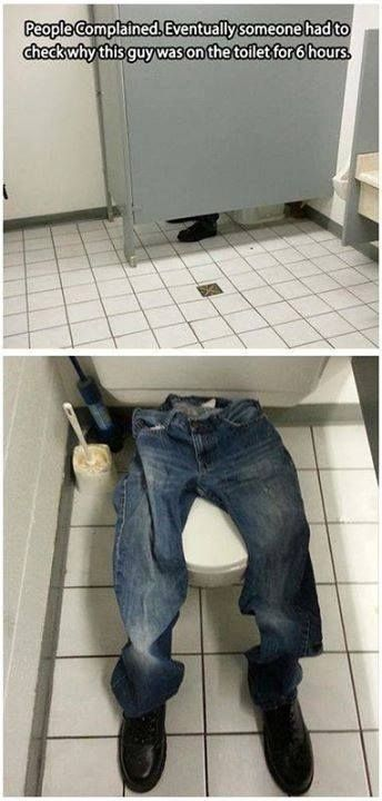Office prank with empty pants and shoes in bathroom stall