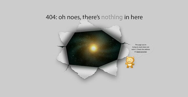 404 error page example from the website good old games