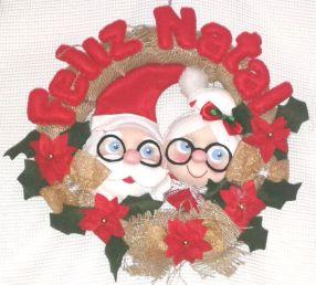 Enfeite de porta Casal papai Noel