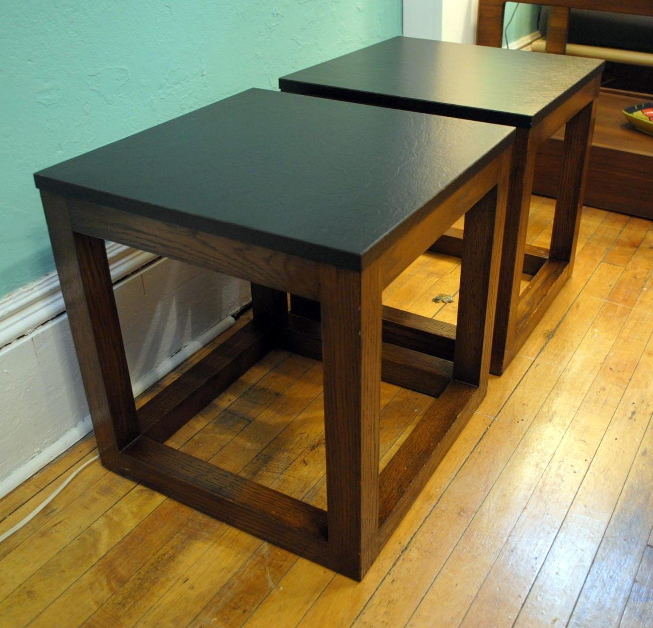 Pair Of Custom Built End Tables  1960u0027s