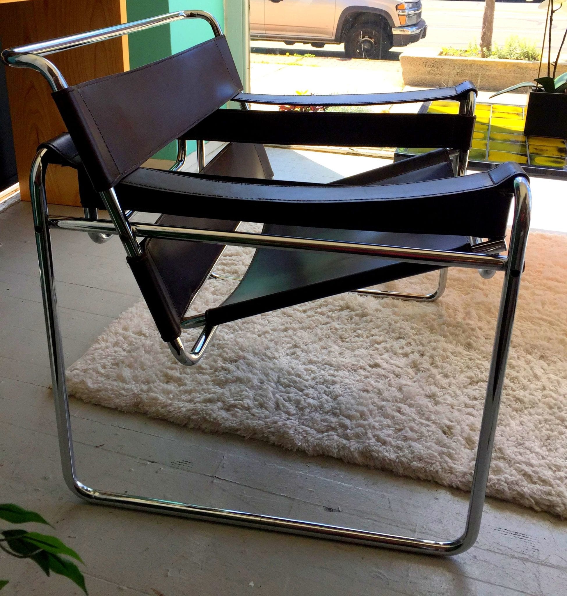 Mid Century Wassily Style Chair Leather