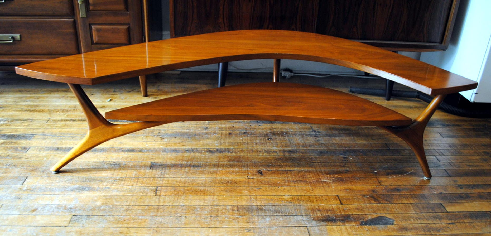 Two tiered boomerang coffee table circa two tiered boomerang coffee table geotapseo Choice Image