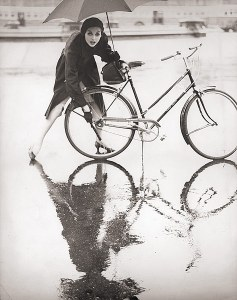 Anne St Marie in the rain - 1950s.
