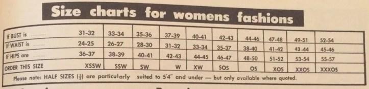 1970 sizing chart