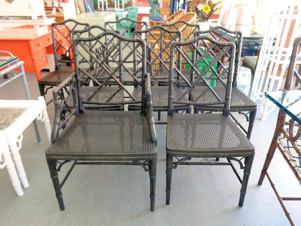 8 Faux Bamboo Chippendale Chairs Circa Who