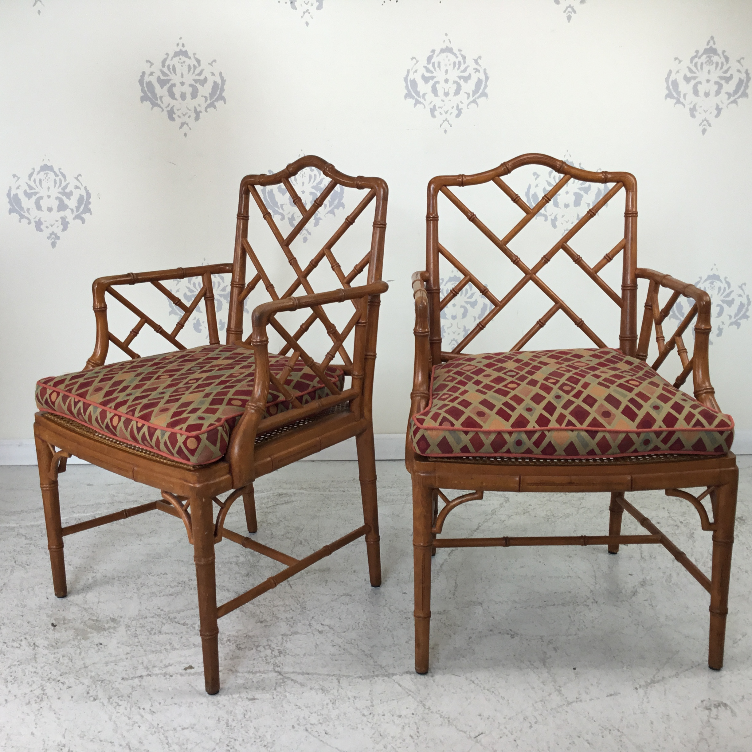 Pair Of Faux Bamboo Chippendale Arm Chairs Circa Who