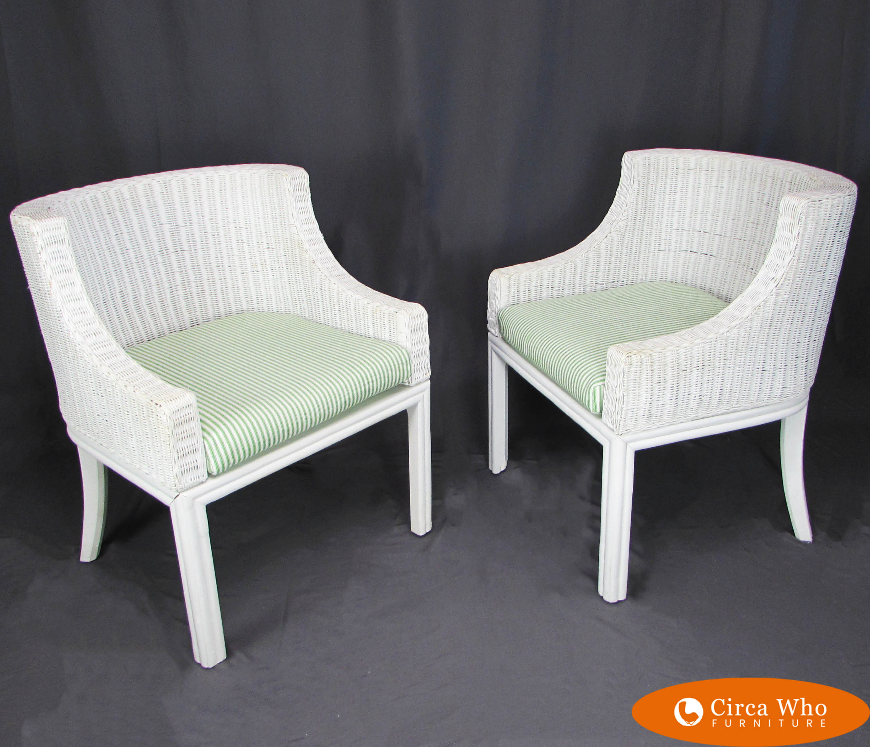 Pair Of White Woven Rattan Chairs Circa Who