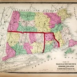map Massachusetts, Rhode Island & Connecticut