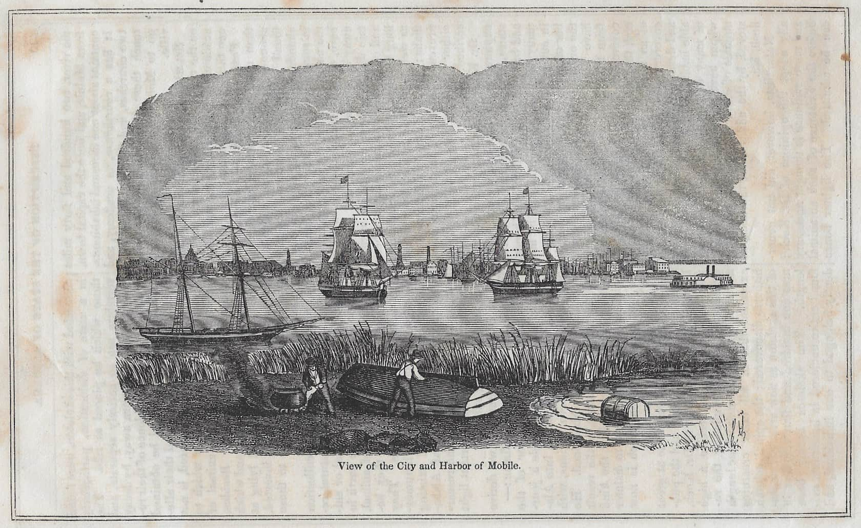 View of City and Harbor of Mobile 1874